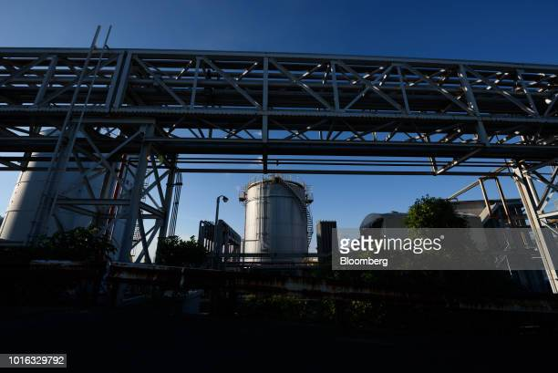 A tank stands at a plant in Nagoya Japan on Tuesday July 31 2018 Japan is scheduled to release trade balance figures for July on Aug 16 Photographer...