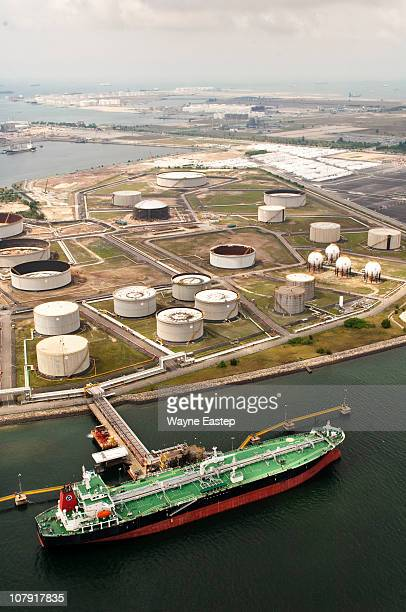 Tanker and tank farm at Refinery Loading Dock