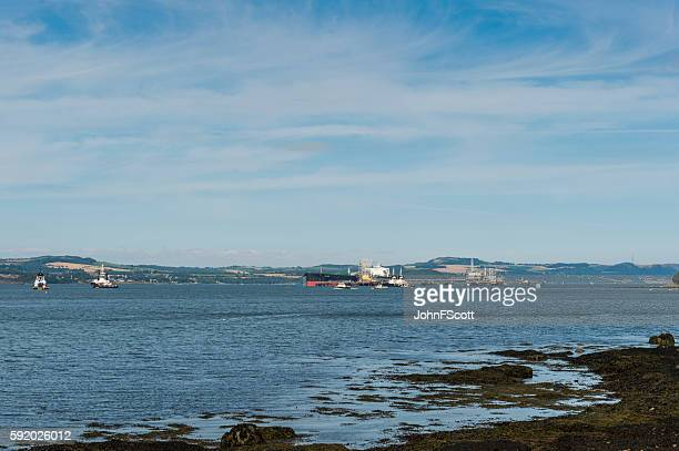 Tanker bearthed at Hound Point in the Firth of Forth