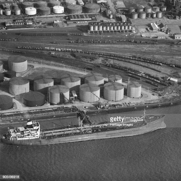Tanker 'Esso Portsmouth' at Shell Haven Oil Refinery, Thames Haven, Thurrock, Essex, 1967. Artist Aerofilms.