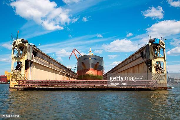 Tanker in Gothenburg floating dry dock
