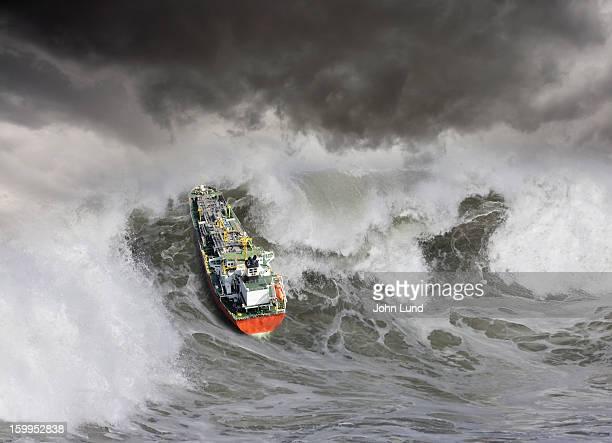 Tanker In Ocean Storm