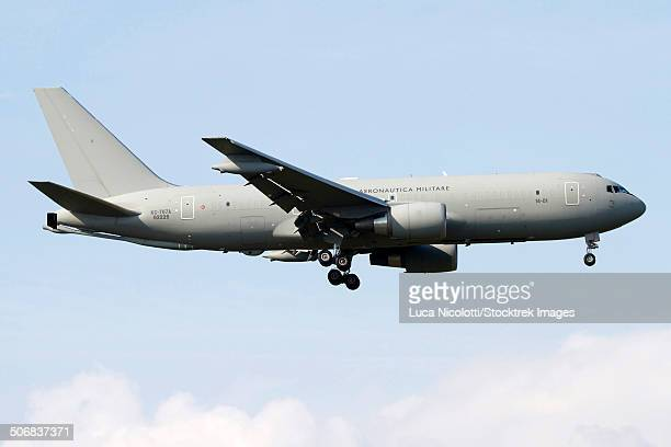 a kc-767 tanker of the italian air force in flight over italy. - italian military stock pictures, royalty-free photos & images