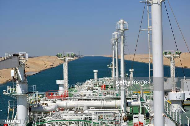 LNG Tanker passing through Suez Canal