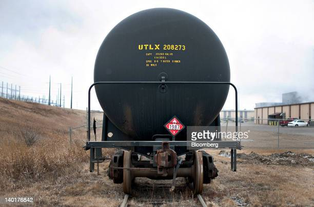 A tanker railcar used to transport denatured alcohol or ethanol sits on tracks at the Great River Energy Blue Flint Ethanol plant in Underwood North...