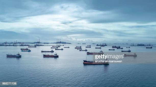 tanker ship park standby transportation of oil in sea at oil refinery, chon buri, thailand. - ship stock pictures, royalty-free photos & images