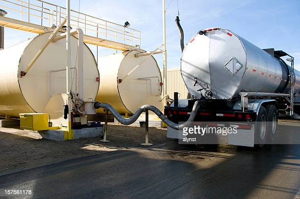 Tanker Transeferring Oil into Fuel Tanks