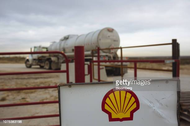 Tanker truck enters a Royal Dutch Shell Plc facility in Loving County, Texas, U.S., on Monday, Dec. 17, 2018. Once the shining star of the oil...