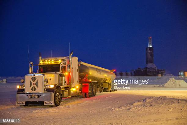 A tanker truck sits near a Parker Drilling Co oil rig in Prudhoe Bay Alaska US on Wednesday Feb 15 2017 Four decades after the Trans Alaska Pipeline...