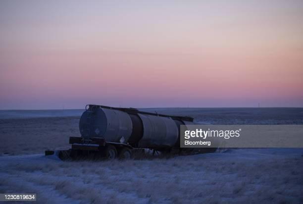 Tanker truck trailer in a field along the Keystone XL pipeline route near Oyen, Alberta, Canada, on Wednesday, Jan. 27, 2021. U.S. President Joe...