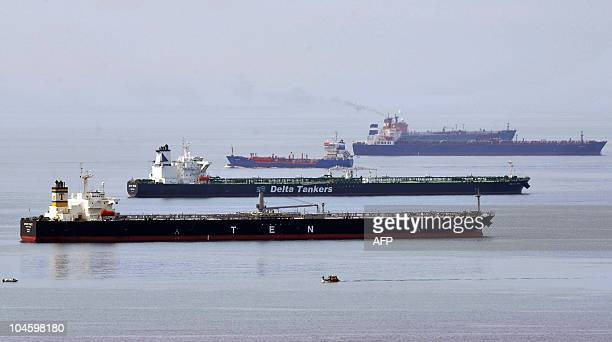 Tankers are blocked off Lavera and FossurMer terminals near Marseille southern France on October 1 due to a dockers strike They denounce the...