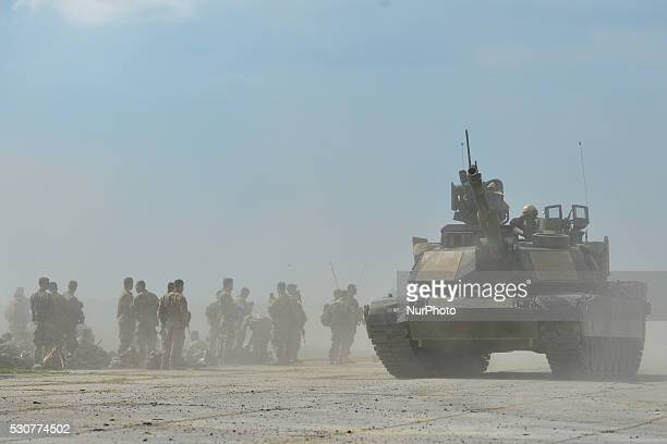 US tanks Abrams and Bradley return to their base after the opening ceremony of the Exercise Noble Partner 16 a Georgian British and US military...