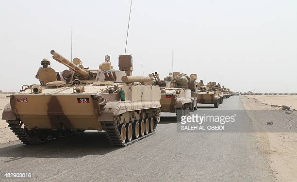 Tanks and armoured vehicles of the Saudiled coalition are deployed on the outskirts of the southern Yemeni port city of Aden on August 3 during a...