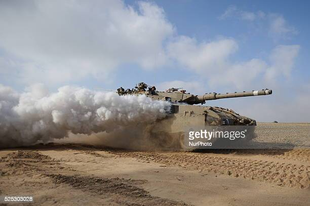 IDF tanks and soldiers in Southern Israel near the border with Gaza on the 4'th day of Operation Protective Edge July 11 2014 As Israel prepares for...