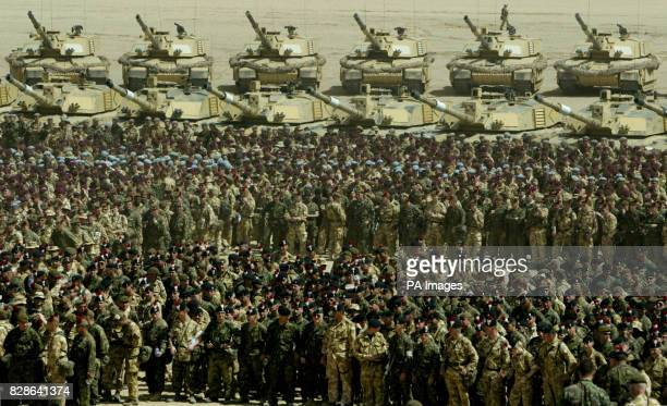 Tanks and soldiers of the 7th Armoured brigade, in the desert to hear an address from Lieutenant General Jeff Conway Commanding General 1st Marine...