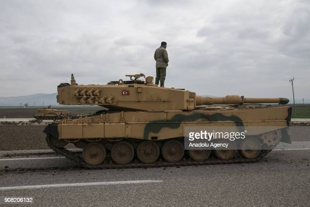 Tanks are being transported to Hatay Turkey as part of the 'Operation Olive Branch' on January 21 2018 The operation aims to establish security and...