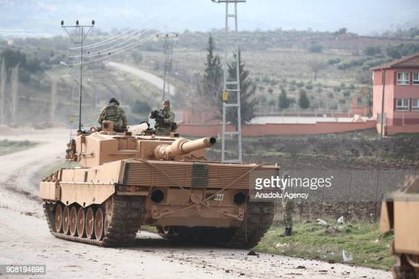 Tanks are being transported to Kilis Turkey as part of the 'Operation Olive Branch' on January 21 2018 The operation aims to establish security and...