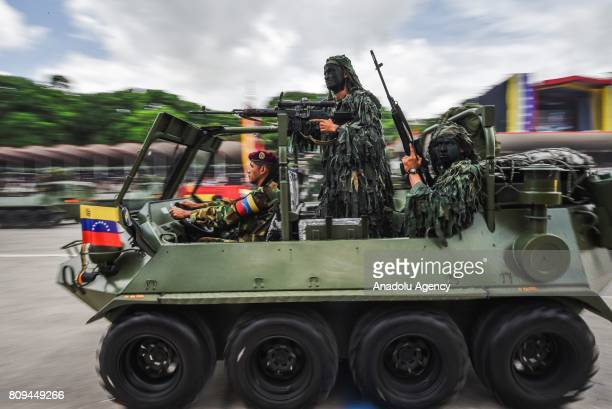 Tanks are displayed during a military parade to celebrate Venezuela's 206th anniversary of Independence in Caracas Venezuela on July 5 2017