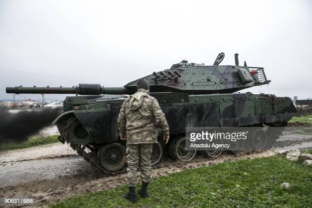 Tanks are seen after they were deployed to reinforce the border units in Antakya district of Hatay Turkey on January 18 2018