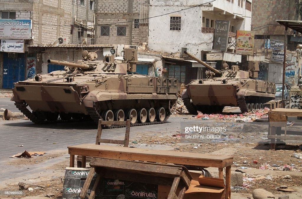 Tanks are seen in Yemen's southern Lahj governorate, some 50 kilometres north of the Red Sea port of Aden, on August 4, 2015. Pro-government forces pursued fleeing Shiite Huthi fighters in south Yemen, military sources said, as they looked to press recent gains against the rebels, including the retaking of a key airbase.