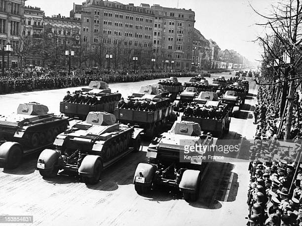 Tanks at the military parade for the celebration of the 50th birthday of Adolf Hitler on April 20 1939 in Berlin Germany