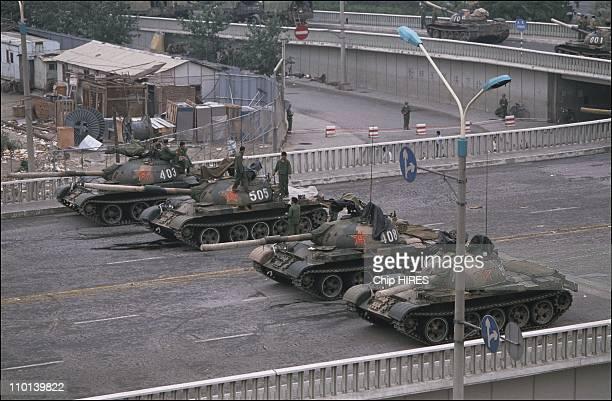 Tanks Depart Tiananmen Square in Beijing China on June 06 1989