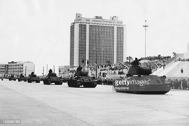 Tanks in a military parade during celebrations of the second anniversary of the Cuban Revolution, Plaza Marti, Havana, Cuba, 9th January 1961.