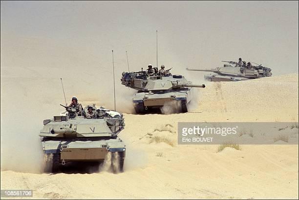 S M1 tanks in the desert in Saudi Arabia on September 13th 1990