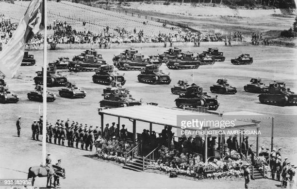 Tanks marching past the Royal Pavilion, Aldershot Review, United Kingdom, photograph from The Illustrated London News, July 20, 1935.