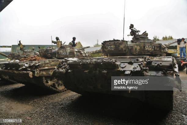 Tanks of Armenian military are seized by Azerbaijan army as Armenian soldiers fled their positions, leaving behind their weapons and military...