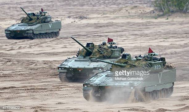 Tanks of Norwegian Army at exercise Noble Jump of NATOs new Spearhead Force or Very High Readiness Joint Task Force at Zagan Parade Ground on June 15...