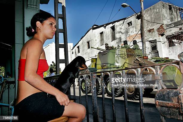 Tanks of the Cuban Armed Forces drives through Havana near the Plaza de la Revolucion Revolution Square during a rehearsal for the December 2nd...