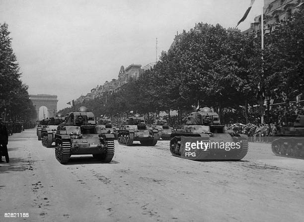 Tanks on the Champs Elysees in Paris part of the celebrations for Bastille Day 14th July 1939