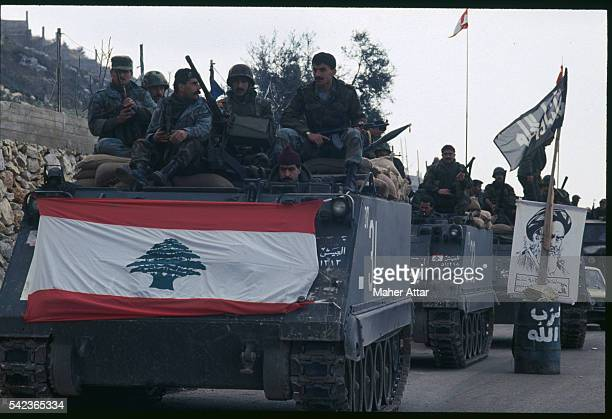 Tanks on the road to Iklim el Tefifiah as the Lebanese army deploys in Southern Lebanon | Location Near Iklim el Tefifiah Lebanon