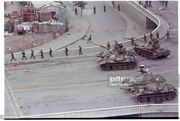 Tanks sit in a street in Beijing two days after the suppression of the prodemocracy protests in Tiananmen Square
