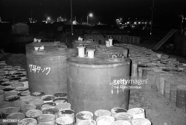 Tanks to dispose mercury poisoned fishes are arranged 30 years after mercury poisoning recognised on April 13 1986 in Minamata Kumamoto Japan