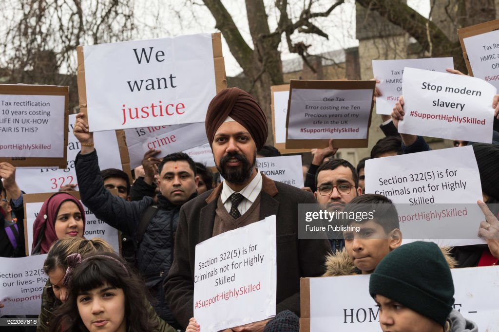 Tanmanjeet Singh Dhesi MP joins highly skilled migrants and their families protesting outside Houses of Parliament in London against the UK government's 'inhumane and discriminatory' immigration rules. Highly Skilled Migrants group which represents over 600 migrants in professional occupations has raised over £25,000 to challenge the Home Office in the courts for refusing indefinite leave to remain applications. February 21, 2018 in London, England.