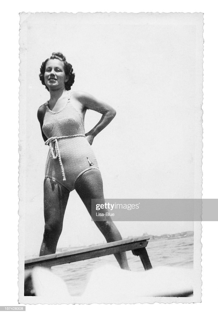 Tanned Girl with Swimwear in 1935.Black And White : Stock Photo