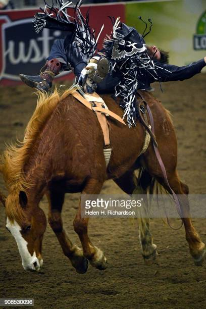 Tanner Aus of Granite Falls Minnesota hangs on as long as he can during the Bareback riding event at the US Bank Pro Rodeo Finals on January 21 2018...