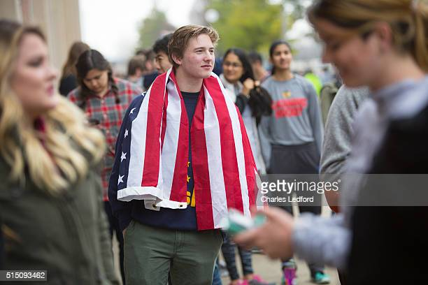 Tanner Bednar waits in line to enter a rally for Democratic presidential candidate US Sen Bernie Sanders in the Activities and Recreation Center on...