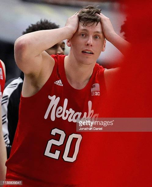 Tanner Borchardt of the Nebraska Cornhuskers reacts after a teammate hit a three point shot against the Maryland Terrapins at the United Center on...