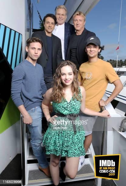 Tanner Buchanan, Ralph Macchio, Martin Kove, William Zabka, Xolo Maridueña and Mary Mouser attend the #IMDboat at San Diego Comic-Con 2019: Day Two...