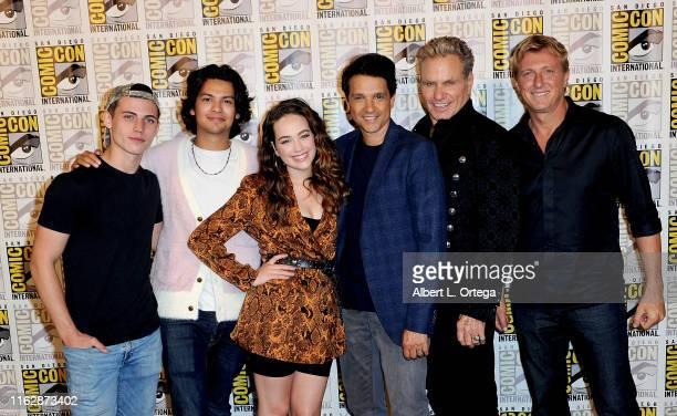 "Tanner Buchanan, Xolo Maridueña, Mary Mouser, Ralph Macchio, Martin Kove and William Zabka attend the ""Cobra Kai: Past, Present, and Future"" panel..."