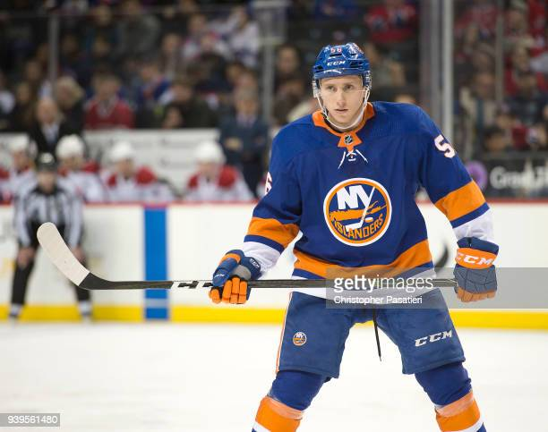 Tanner Fritz of the New York Islanders looks on during the third period against the Montreal Canadiens at Barclays Center on March 2 2018 in New York...