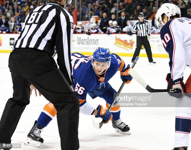 Tanner Fritz of the New York Islanders prepares for a face off during the first period against the Columbus Blue Jackets at Barclays Center on...