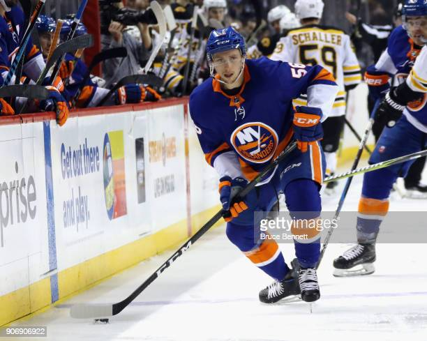 Tanner Fritz of the New York Islanders skates against the Boston Bruins at the Barclays Center on January 18 2018 in the Brooklyn borough of New York...