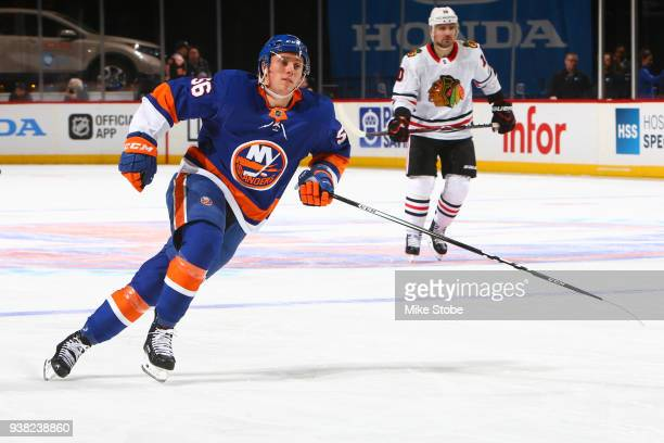 Tanner Fritz of the New York Islanders skates against the Chicago Blackhawks at Barclays Center on March 24 2018 in New York City Chicago Blackhawks...