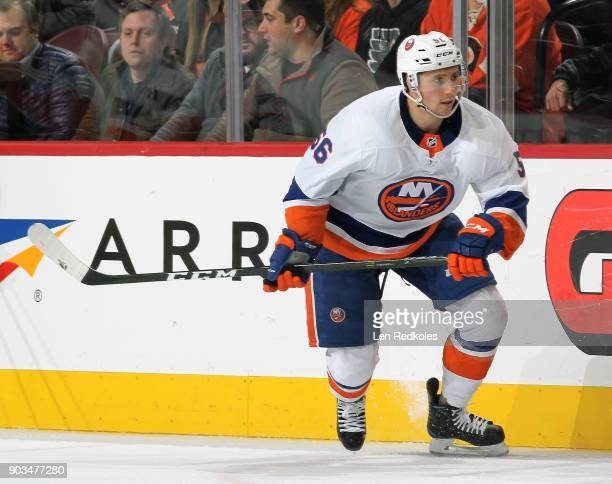 Tanner Fritz of the New York Islanders skates against the Philadelphia Flyers on January 4 2018 at the Wells Fargo Center in Philadelphia Pennsylvania
