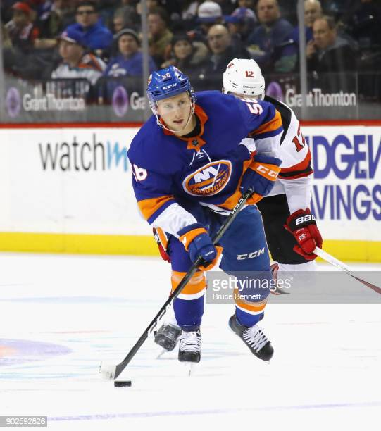 Tanner Fritz of the New York Islanders skates against the New Jersey Devils at the Barclays Center on January 7 2018 in the Brooklyn borough of New...