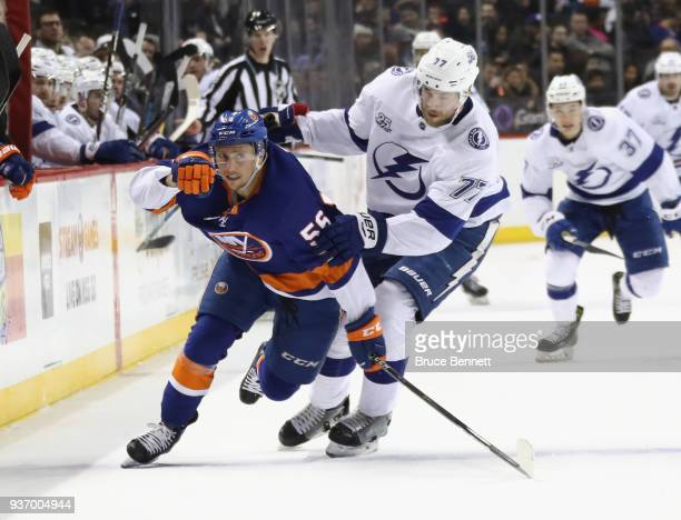 Tanner Fritz of the New York Islanders skates against the Tampa Bay Lightning at the Barclays Center on March 22 2018 in the Brooklyn borough of New...